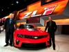 Chevrolet U.S. Vice President Marketing Rick Scheidt (left) and General Motors Vice President Global Design Ed Welburn unveil the 2012 Chevrolet Camaro ZL1 -- the fastest Camaro ever -- Wednesday, February 9, 2011 at the Chicago Auto Show in Chicago, Illinois. The ZL1 is equipped with an LSA 6.2L supercharged engine that will produce an estimated 550 horsepower, and a six-speed manual transmission with a dual-disc clutch system. The Chevrolet Camaro ZL1 launch is targeted for the beginning of 2012. (Photo by Steve Fecht for Chevrolet) (02/09/2011)